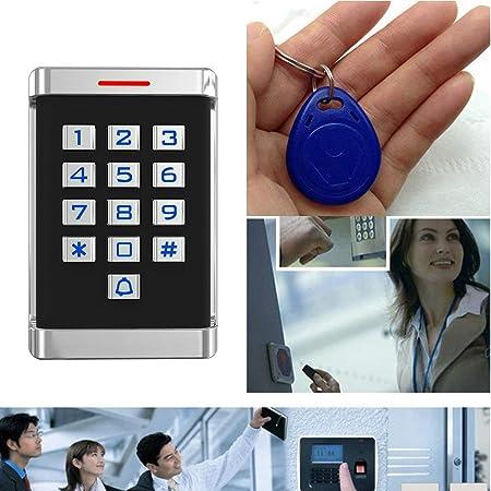 Diyeeni Acc/ès Contr/ôle Syst/ème Kit Ordinaire Wiegand 26-bit RFID Porte Acc/ès Contr/ôle Syst/ème /Étanche avec 10 RFID Carte 2000 Utilisateurs pour Maison//Apartment Claviers /à Gros Boutons