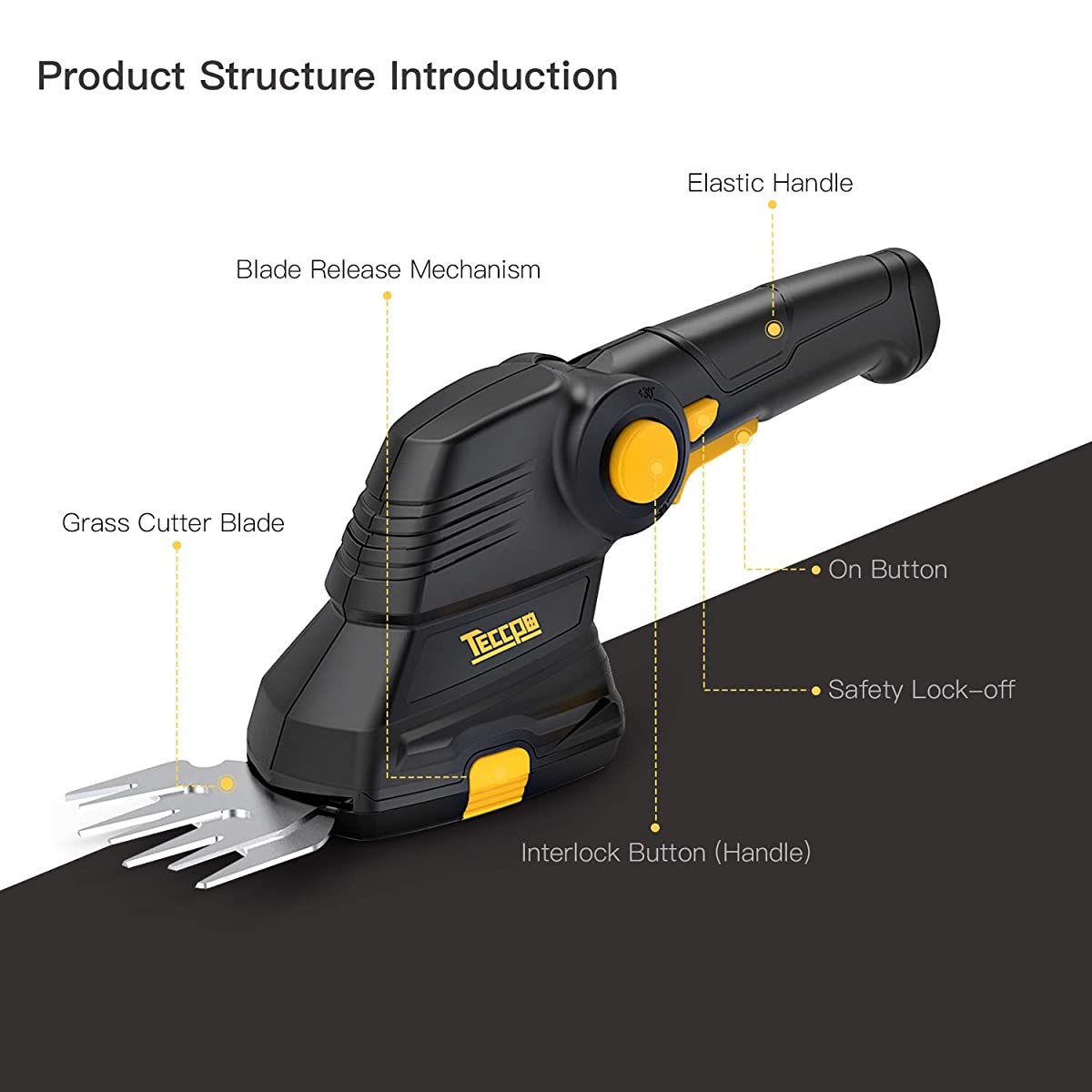 Grass Shears, TECCPO 3.6V Cordless Grass and Shrub Shears/Hedge Trimmer, 1.5Ah Rechargeable USB Lithium Battery 2 in 1 Fast Tool-Less Switch, with Pivoting Handle, Ideal for Garden - TDGS01G