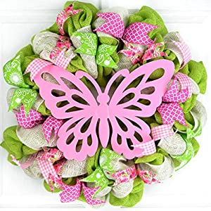 Spring Butterfly Wreath | Summer Burlap Front Door Decor | Lime Green Pink White 74