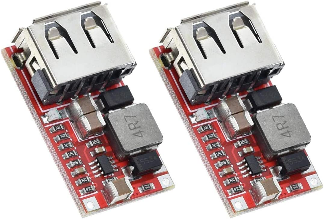TECNOIOT 2pcs 6-24V 24V 12V to 5V USB Step Down Module DC-DC Converter   2 Pieces DC-DC Buck Module 6-24V 12V/24V to 5V 3A USB Step Down Power Supply Charger Efficiency 97.5%