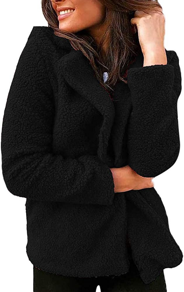 FEDULK Womens Overcoat Winter Warm Ladies Solid Colour Suit Short Jacket Coat Outwear
