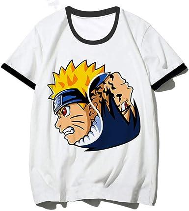 TSHIMEN Camisetas Hombre Coches Naruto Anime T-Shirt para Hombres/Mujeres Verano Moda Dibujos Animados Casual Tshirt Funny Top Tees Hombre/Mujer Blanco XXL: Amazon.es: Ropa y accesorios