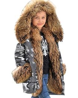 b1b2e9e97174 Amazon.com  Aofur Kids Unisex Coat Winter Black Jacket Faux Fur ...