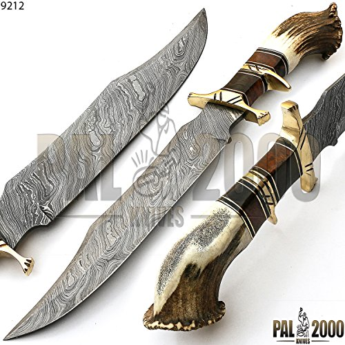 Sub Hilt Custom Handmade Damascus Steel Crown STAG Horn Hunting Bowie Knife -Sword/Chef Kitchen Knife/Dagger/Full Tang/Axe/Billet/Folding Knife/Knives Accessories/Survival/Camping with Sheath 9212