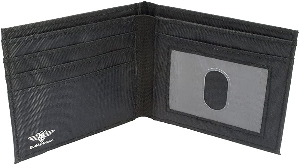 Buckle-Down Canvas Bi-fold Wallet-Mopar Logo//stripe2 Black//Blue
