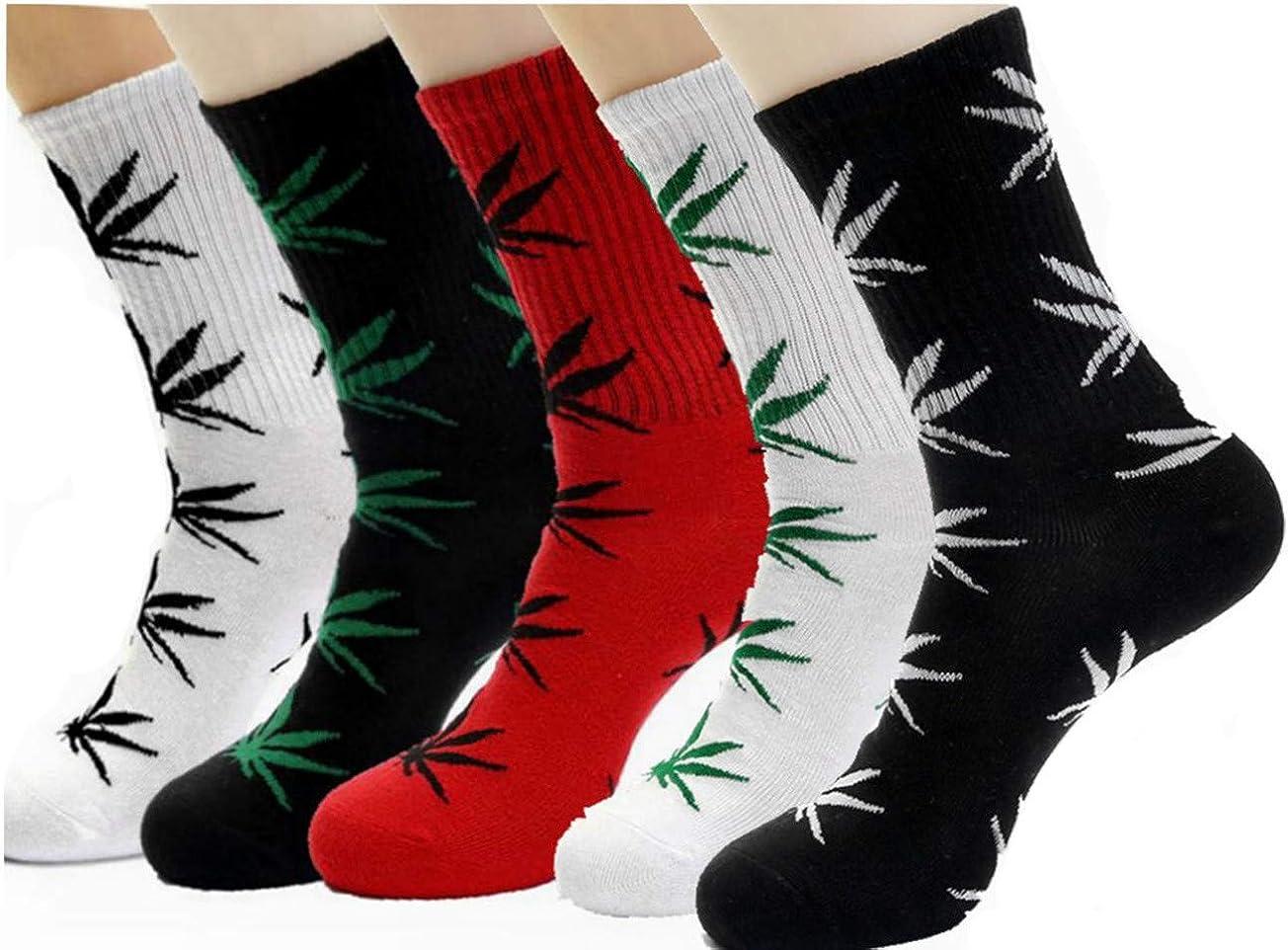 Lifevv 5 Pairs Unisex Marijuana Weed Leaf Cotton Athletic Sports Marijuana High Crew Socks