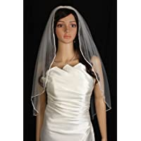 Bridal Veil 1 Tier Fingertip Length Diamond (Off) White Scallop Edge With Crystal