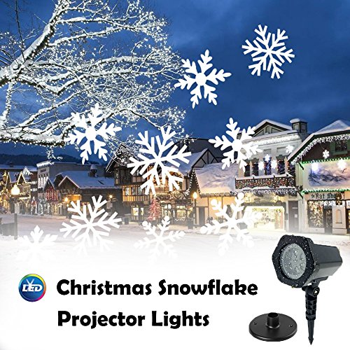 LED Snowflakes Projector Light Moving White Landscape Spotlight Stake Lamp for Christmas Halloween Decorations Garden Holiday Decor Festival Party Outdoor Indoor Wall Patio Stage Home by CM-Light