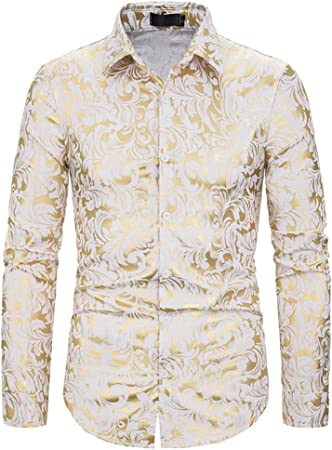 LISILI Camisas De Hombre Dorado Diseño Manga Larga Ajustado Abotonar Vórtice Impreso Elegante Brillante Camisa De Vestir,Blanco,XXL: Amazon.es: Hogar