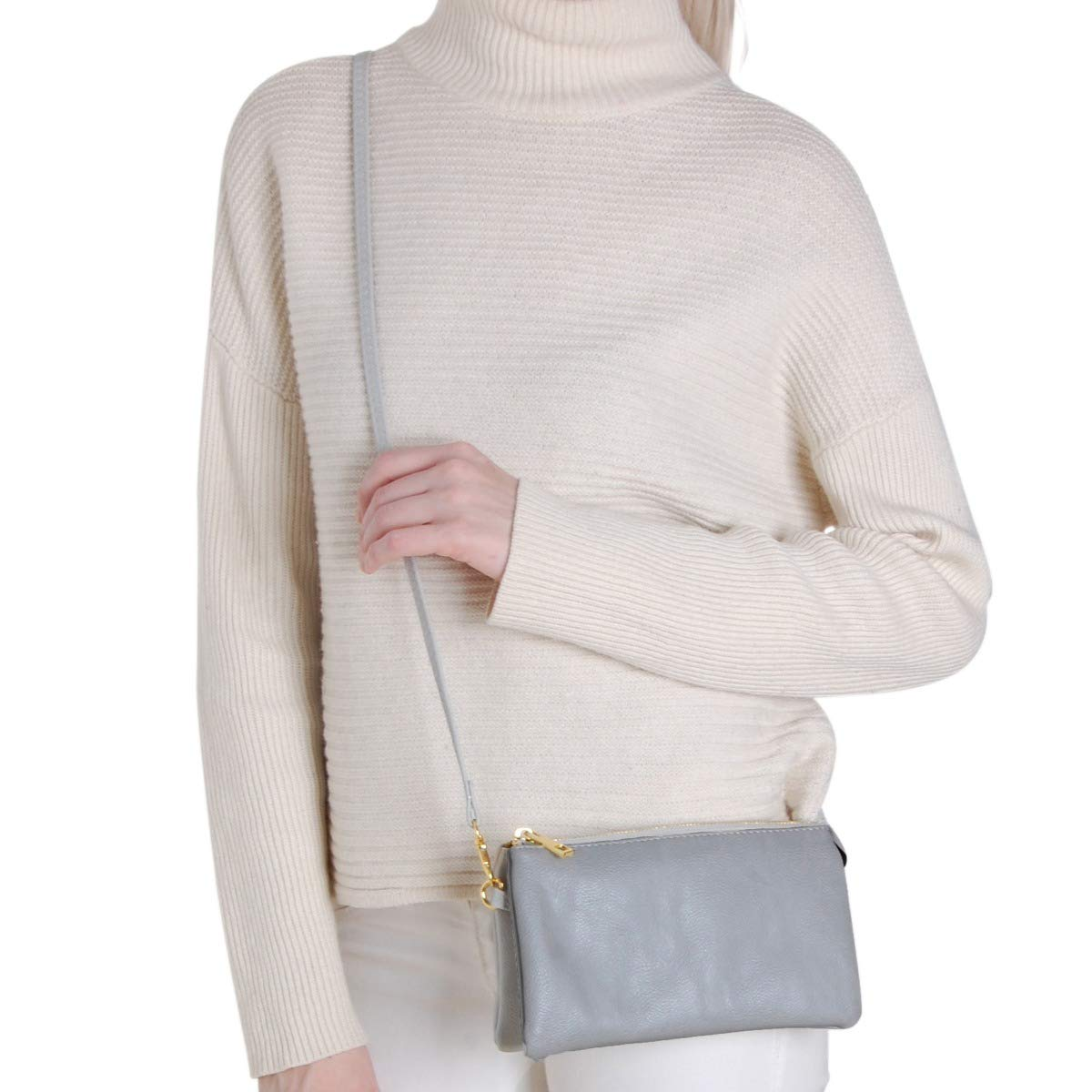 Includes Adjustable Shoulder and Wrist Straps Humble Chic Vegan Leather Small Crossbody Bag or Wristlet Clutch Purse