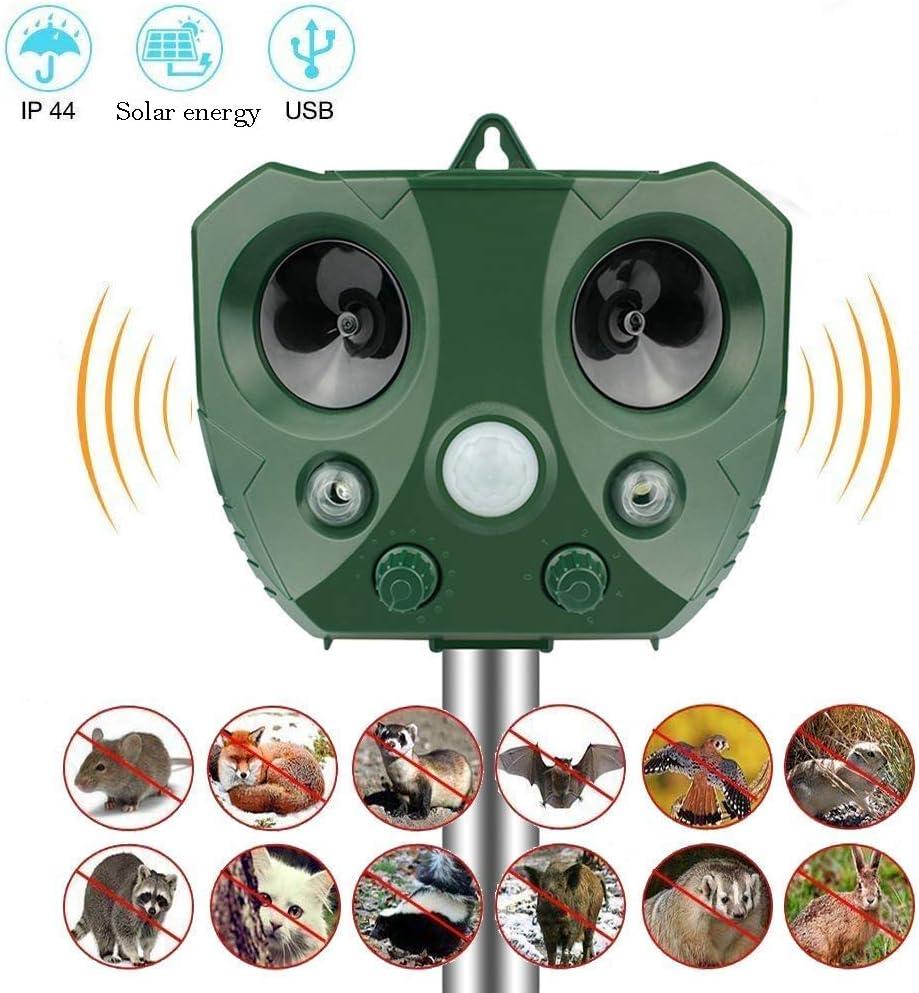 Repelente para Gatos, Lypumso Volador Repelente Ultrasónico para Animales, con Carga Solar Sensor de Movimiento para Gatos, Perros, Ratones, Zorros