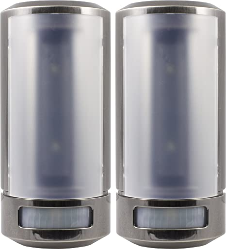 GE 07091 Wireless Motion-Sensing LED Wall Sconce, Nickel Finish, 2-Pack
