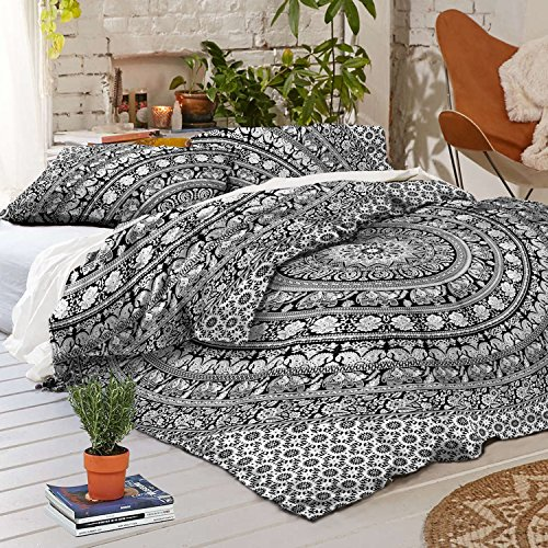 Exclusive Bohemian White Black Mandala Duvet Cover By Madhu International, Bohemian Mandala Quilt Cover, Boho Bedding Cover