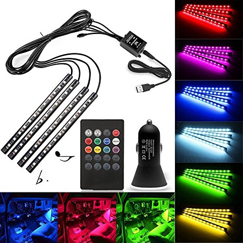 Topled USB Port Car LED Strip Light, 4 x 22cm Waterproof SMD5050 RGB Multicolor Car Strip Light Lamp Lighting Set + Sound-Activated IR Remote Control + Car Charger