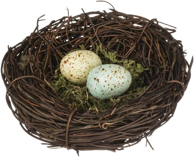Sullivans Speckled Robin's Egg Blue Yellow Moss 4 Inch Decorative Bird's Nest