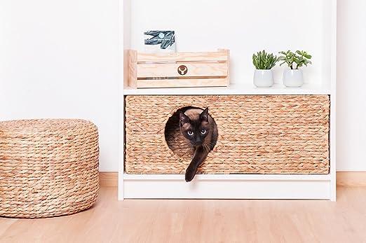 INWONA Gato Cesta para IKEA Billy Estantería Natural Gato Cesta Gato Cueva Animales Pequeños Conejos cobaya Cueva 75 x 30 x 25 cm Material: Jacinto de ...