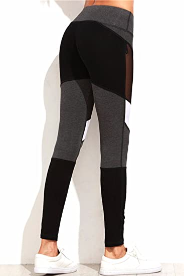 68aa8938ae9b3c Fittoo Women Mesh Panels Stretchy Yoga Pants Sexy High Waist Workout  Leggings Slim Black Quick Dry Tight Sport Trousers at Amazon Women's  Clothing store: