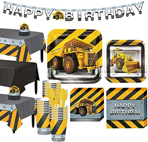 Party City Construction Zone Tableware Party Supplies for 24 Guests, Include Plates, Napkins, a Banner, and Decorations