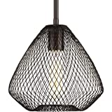 Progress Lighting P5337-20 Mesh One-Light Mini-Pendant, Antique Bronze