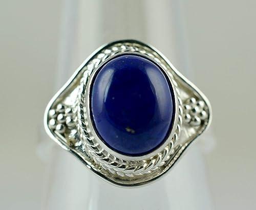 Bague en argent sterling 925 lapis-lazuli pierre bleue