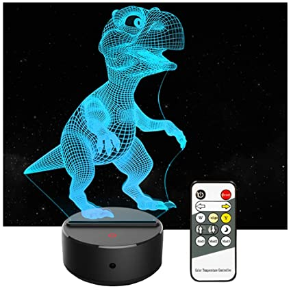 Home & Garden Dinosaur 3d Kids Night Light 7 Colors Changing 3d Lamp Remote Control Table Desk