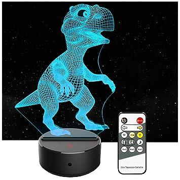 Amazon.com: Dinosaur 3d niños luz nocturna 7 colores ...