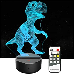 Aoduoer Dinosaur Night Light 7 Colors Changing 3D Remote Control Table Desk Lamp for Boys Girls Kids Adults Children Toy Birthday (T-Rex)