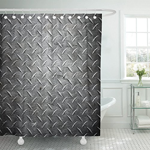 - Emvency Shower Curtain Silver Steel Metal Diamond Plate Abstract Industrial Iron Floor Waterproof Polyester Fabric 72 x 78 Inches Set with Hooks