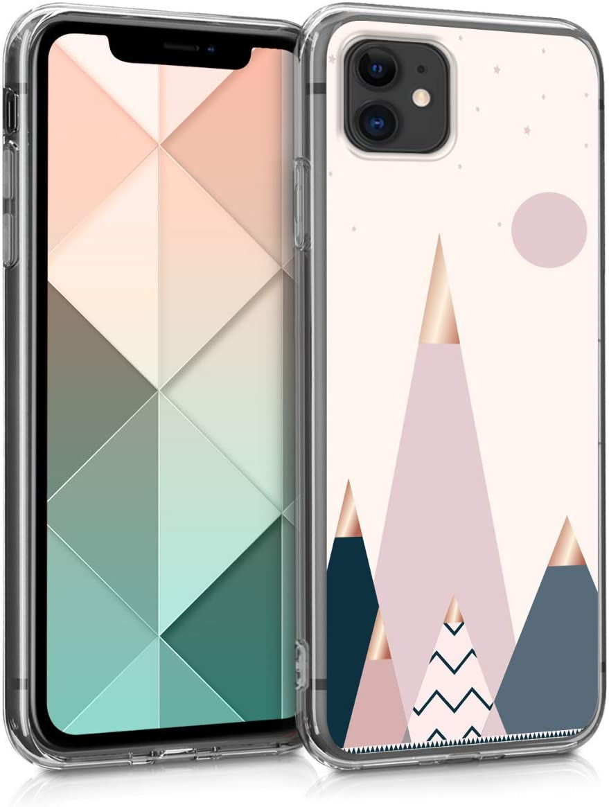 kwmobile Case Compatible with Apple iPhone 11 - TPU Crystal Clear Back Protective Cover IMD Design - Moon and Mountains Rose Gold/Blue/Light Pink