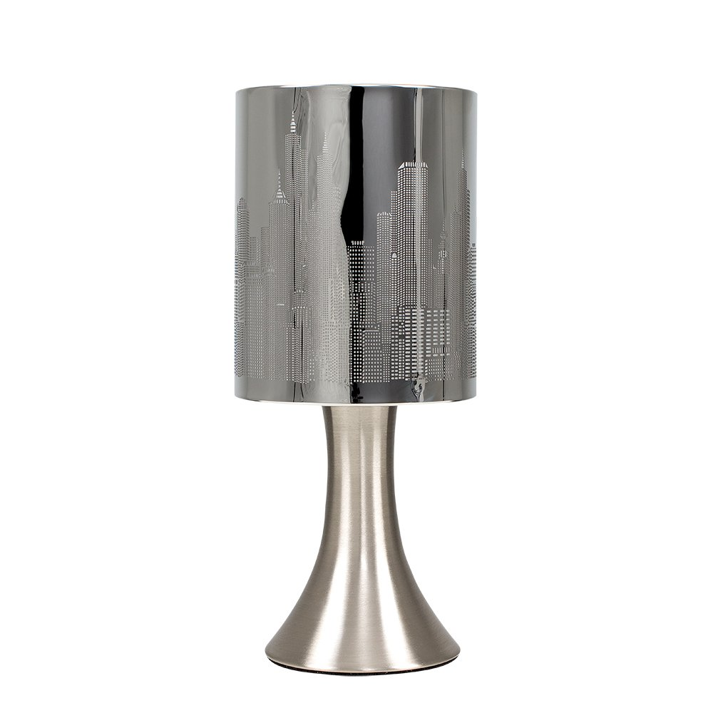 Chrome Touch Table Lamp with New York Skyline Shade MiniSun