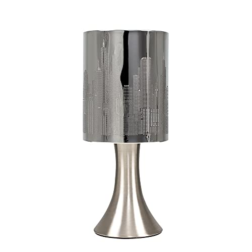 Chrome Touch Table Lamp With New York Skyline Shade