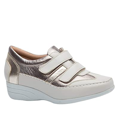 d1f225403 Sapato Feminino Anabela em Couro Off White/Metalic/Glacê 3140 Doctor Shoes  -Bege