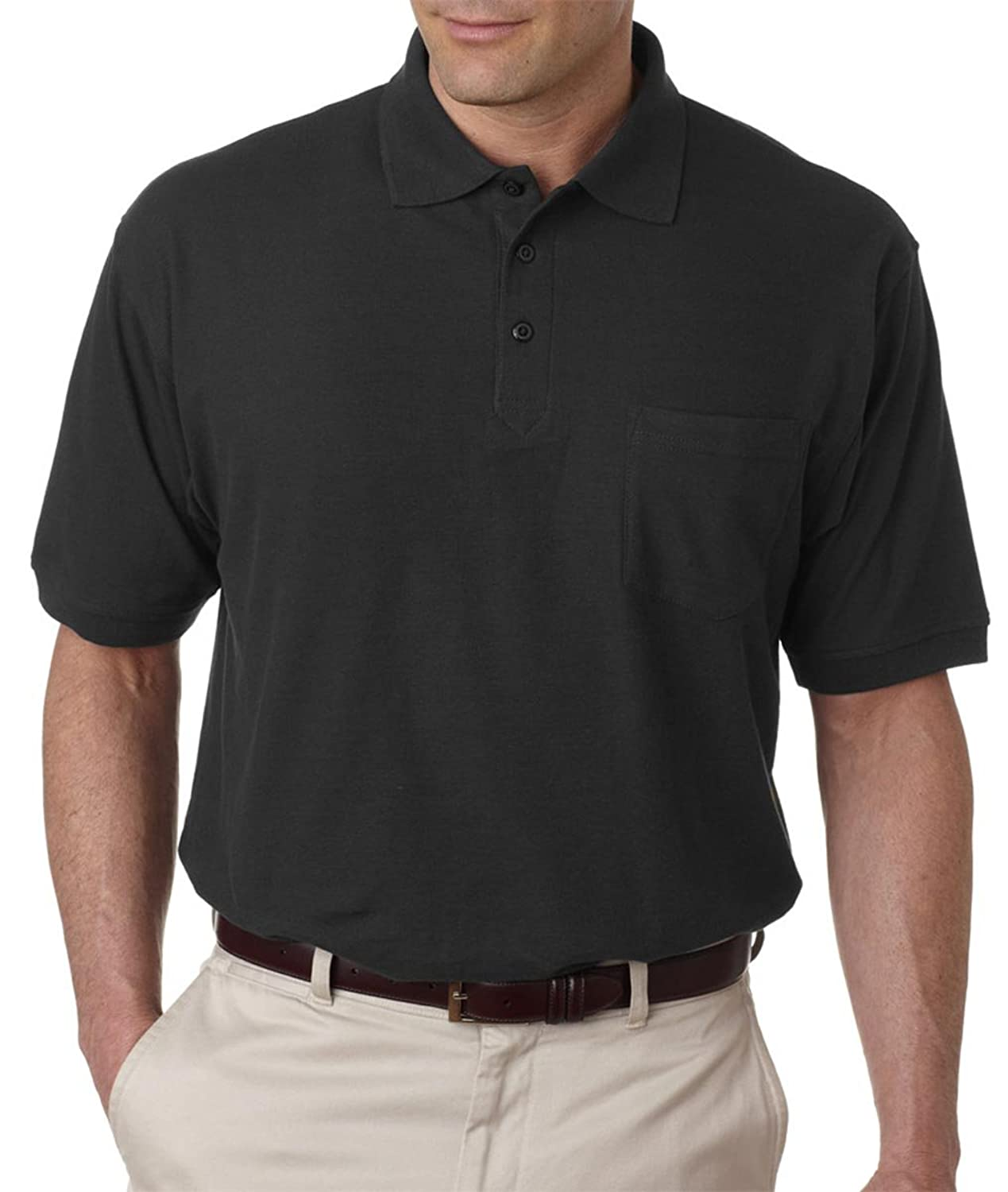 Ultra Club Adult Whisper Pique Polo Shirt with Pocket, L, Navy