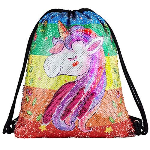 Sequin Drawstring Backpack Bag Mermaid Gym Dance Bags Magic Reversible Glitter Bag Unicorn Gift for Girls Daughter Boy Flip Sequin School Bag Birthday Gift for Kids Teen (Colorful Unicorn/Red)