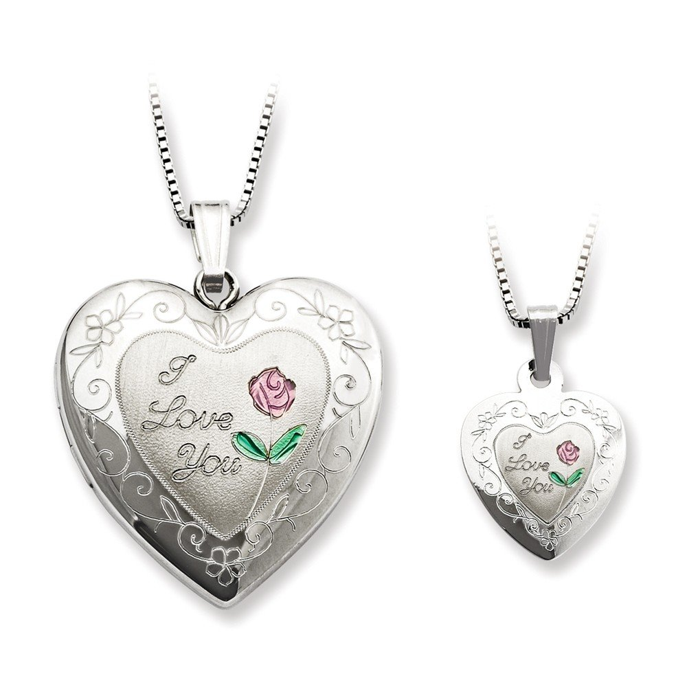 Sterling Silver Rose I Love You Heart Locket and Pendant Necklace