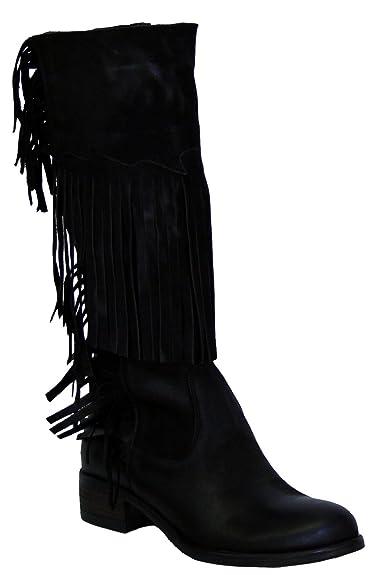 c026 Damen Stiefel, Leder, Wadenhöhe, schwarz, Fransen, Made
