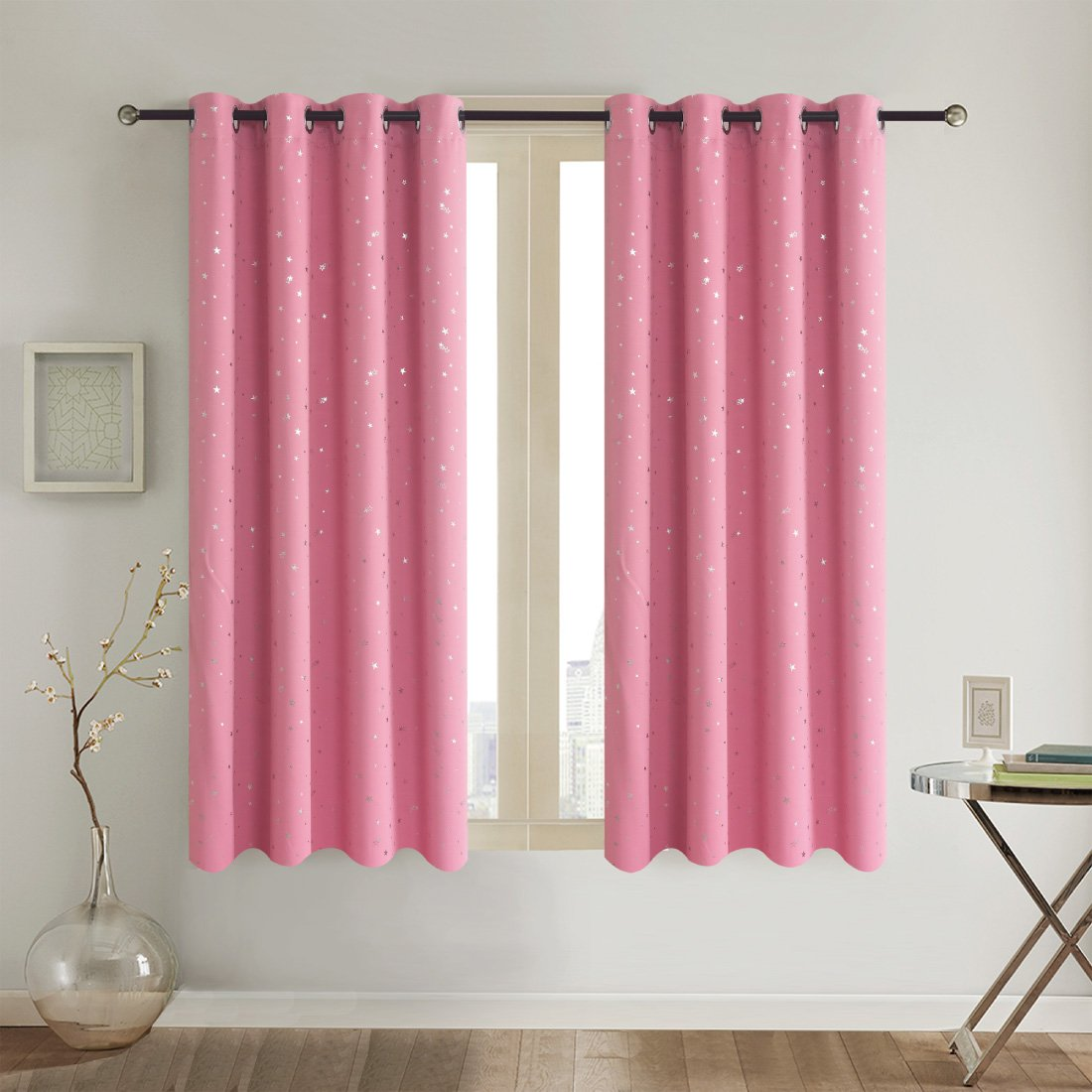 Alice Brown Romantic Starry Sky Creative Blackout Window Curtains for Kids Room/girls room/boys room Space Inspired Night Sky Twinkle Star Kid's Room Draperies by W52 x L63-Inch 2 Panels Pink