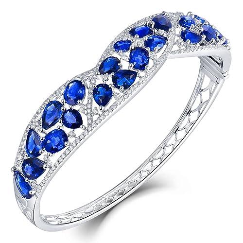 Sapphire - Pulsera de oro blanco de 18 quilates con ...
