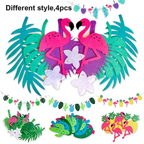Theme Tropical (Tropical Party Decorations, Flamingo Pineapple Banner For Room Decoration Hawaiian Summer Birthday Party Supplies by Shellvcase( 4 Strings Different Styles))