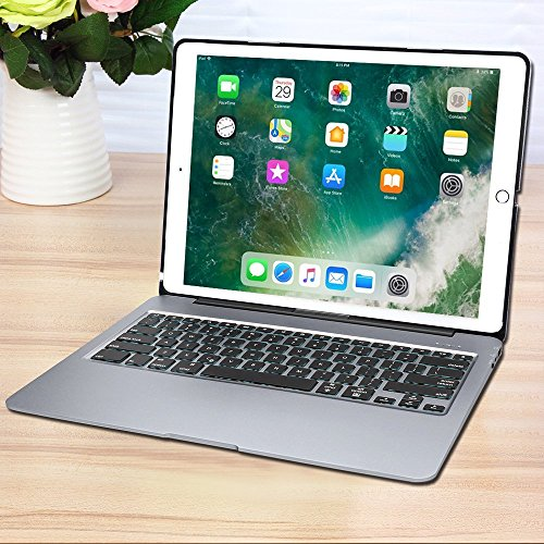 Keyboard Case for iPad Pro 12.9,7 Colors Backlight Slim Aluminum Wireless Keyboard with Protective Translucent Silicone Keyboard Cover and 5600 mAh Power Bank for iPad Pro 12.9 inch(12.9 Space Grey) by KINGZE (Image #6)