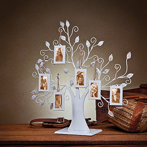 Klikel White Metal Family Tree Display Stand With 6 2x3 Hanging Photo Picture (Family Display)