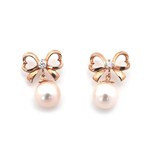 14k Yellow, White or Rose Gold White Freshwater Cultured Pearl CZ Bow Earrings Safety Screwbacks