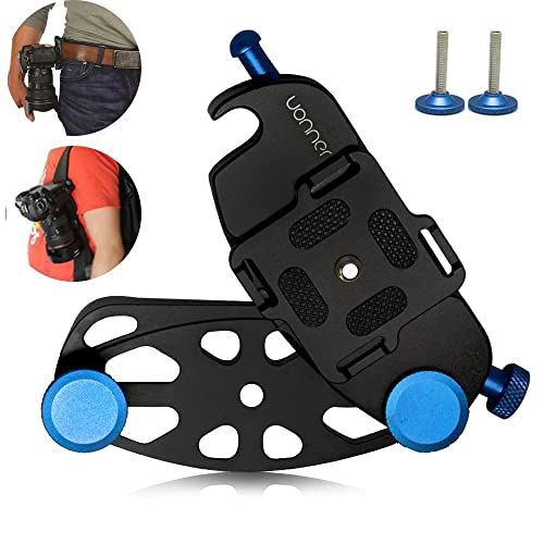 UONNER Quick Release Clip Plate Camera Belt, Uonner Waist Buckle Camera Mount Spider Holster blue with Standard Plate for Canon Nikon Sony DSLR Cameras Gopro Backpack Mount
