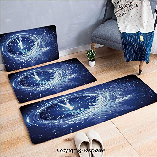 FashSam 3 Piece Non Slip Flannel Door Mat Countdown to New Year Theme A Clock Holiday Lights and Snowflakes Pattern Design Indoor Carpet for Bath Kitchen(W15.7xL23.6 by W19.6xL31.5 by W19.6xL59)