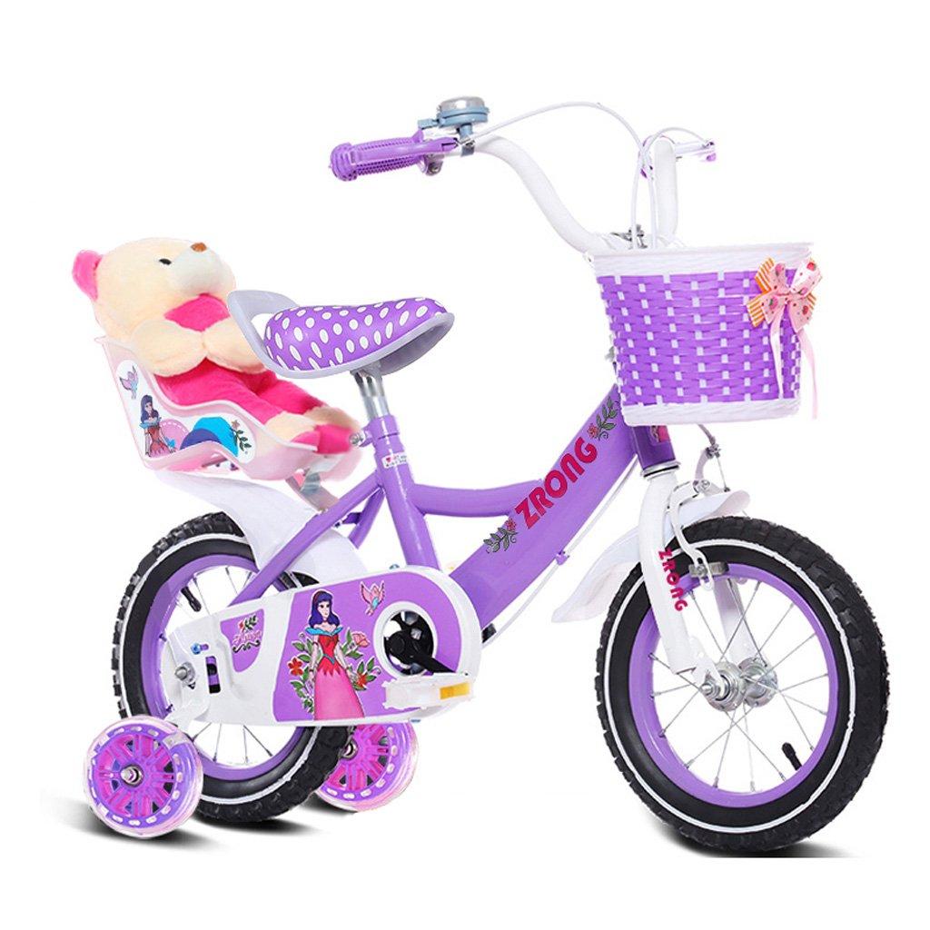 子供用自転車6-9歳の女の子用自転車18インチ子供用自転車ハイカーボンスチールベビーキャリッジ、ピンク/パープル/ブルー (Color : Purple) B07CXL9257