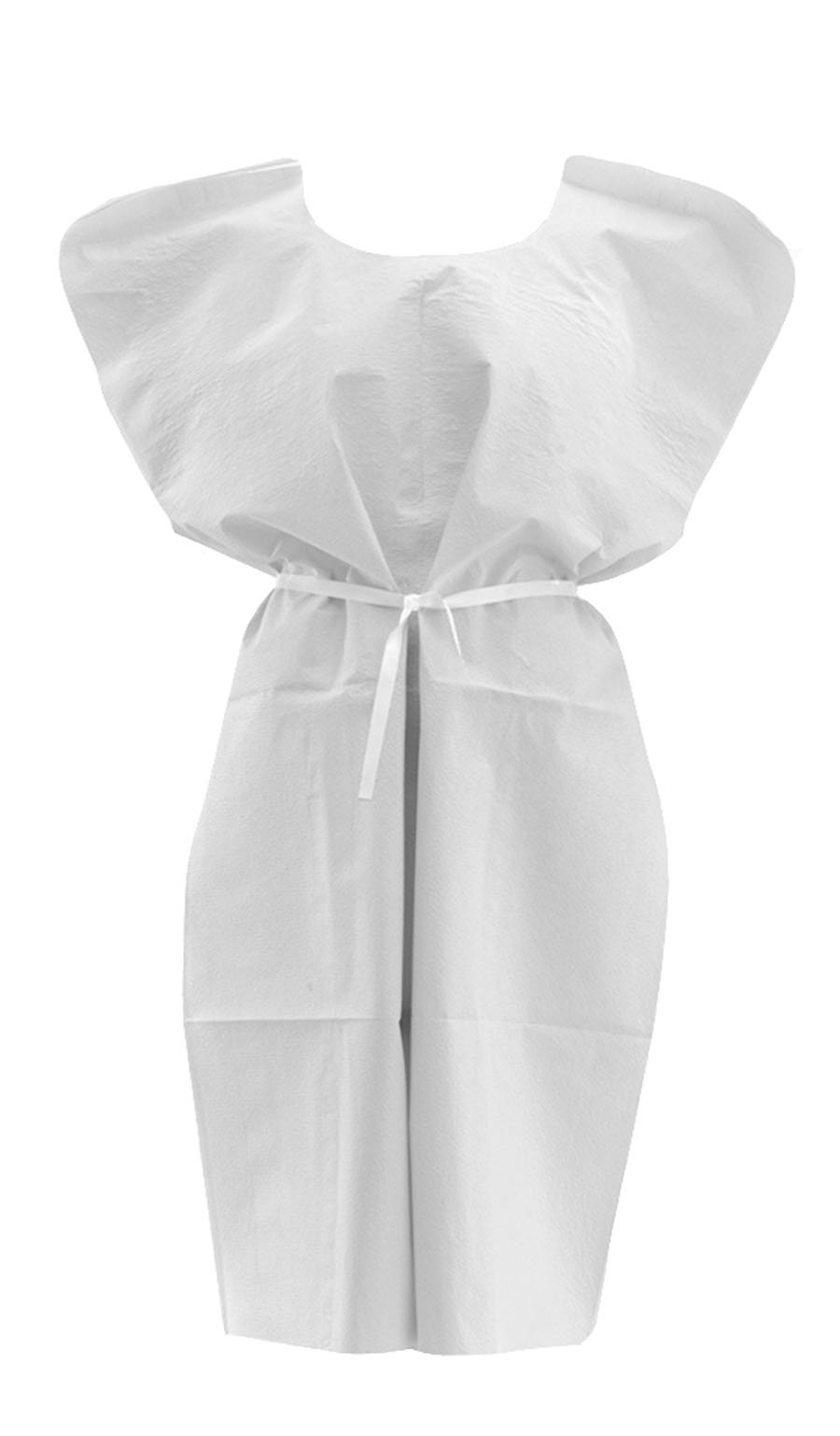 Medline NON24355 Disposable Patient Gowns, Large, White (Case of 50)