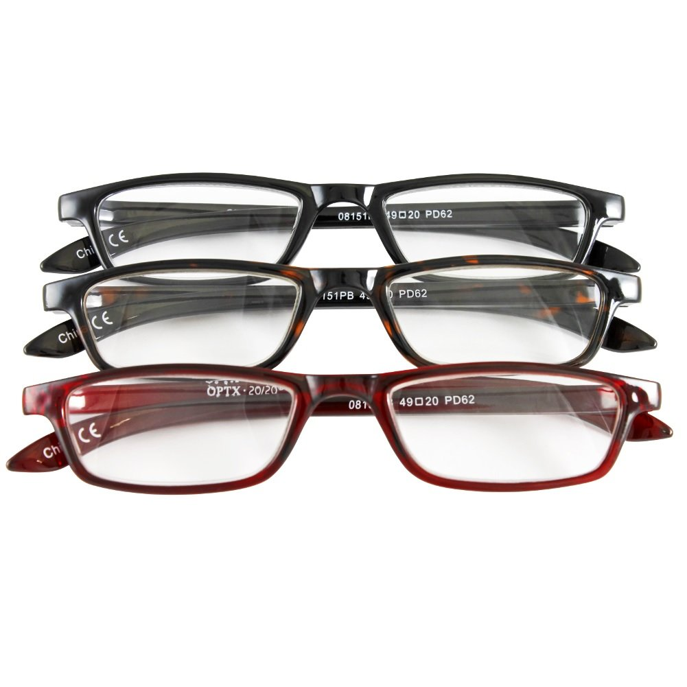 Classic Traditional Readers Half Eye Style Magnifying Reading Glasses +3.5 Set of 3 Pairs ValuPac