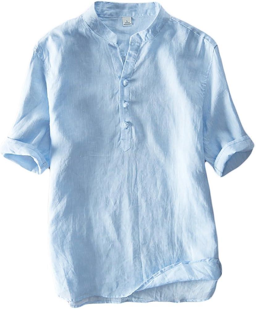 Icegrey Hombre Henley Camisa De Lino De Manga Corta Casual T-Shirt Camisas De Verano con El Botón del Nudo Chino Azul 42: Amazon.es: Ropa y accesorios