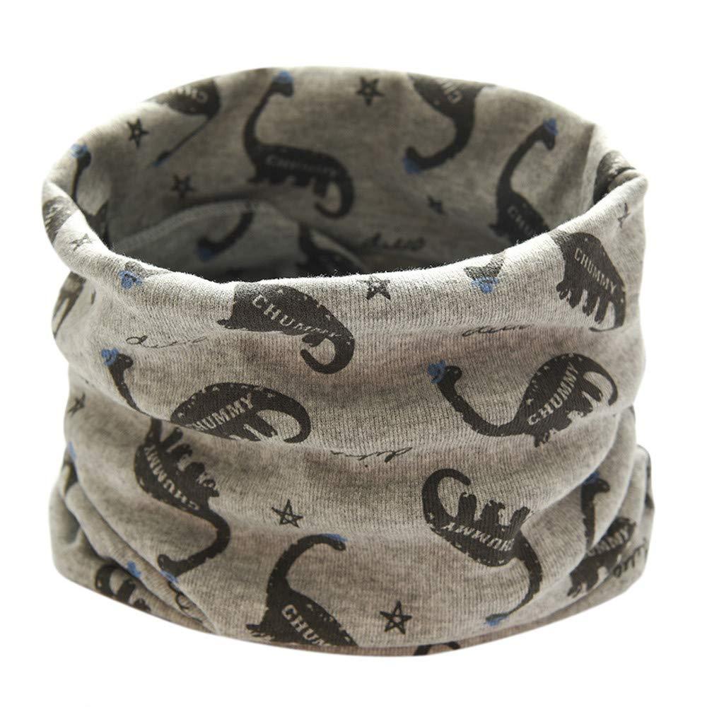 Inkach Toddler Baby Dinosaur Print Winter Infinity Scarf Neck Warmer Kids Shawl Wrap Scarves (Gray)