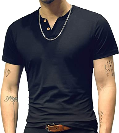 Men/'s V-Neck Slim Fit T-shirts Casual Polo Shirt Short Sleeve Outfit Tops Tees